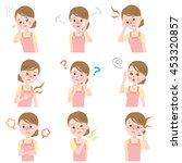 set of menopause symptoms | Shutterstock .eps vector #453320857