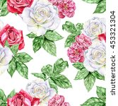 blooming garden. white  red and ...   Shutterstock . vector #453321304