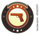 Gun, crime, or violence icon on round red and brown imperial vector button with star accents - stock vector