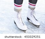 close up of ice skates on ice | Shutterstock . vector #453329251