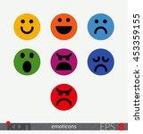 flat vector emoticons. smiley ... | Shutterstock .eps vector #453359155