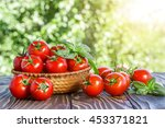 cherry tomatoes and basil on... | Shutterstock . vector #453371821