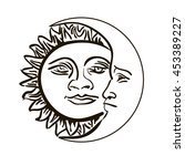 sun and month emblem isolated... | Shutterstock .eps vector #453389227