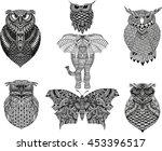 hand drawn zentangle owl ... | Shutterstock .eps vector #453396517