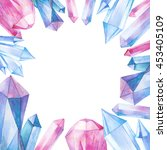 watercolor gem stones square...   Shutterstock . vector #453405109