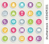 education icons on color... | Shutterstock .eps vector #453409201