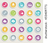 communication icons on color... | Shutterstock .eps vector #453409771