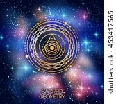 sacred geometry emblem with eye ... | Shutterstock .eps vector #453417565