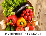 fresh vegetables on a clean... | Shutterstock . vector #453421474