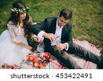 wedding couple picnic on the... | Shutterstock . vector #453422491