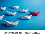 red paper leader ship with... | Shutterstock . vector #453422827