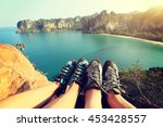 two rock climbers legs at... | Shutterstock . vector #453428557