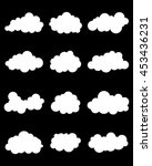 set of various white clouds on... | Shutterstock .eps vector #453436231