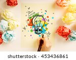 creative idea concept with hand ... | Shutterstock . vector #453436861