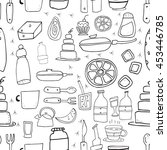 seamless pattern with bottles ... | Shutterstock .eps vector #453446785