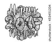 happy new year 2017 hand drawn... | Shutterstock .eps vector #453451204