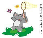 funny cute baby elephant with... | Shutterstock .eps vector #453454174