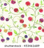watercolor card with raspberry | Shutterstock . vector #453461689