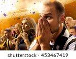 stadium soccer fans emotions... | Shutterstock . vector #453467419