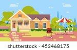 summer picnic outdoors house... | Shutterstock .eps vector #453468175