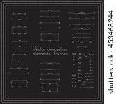 set of linear hand drawn frames ... | Shutterstock .eps vector #453468244