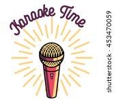 color vintage karaoke emblems | Shutterstock .eps vector #453470059