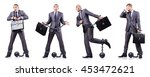 businessman with shackles on... | Shutterstock . vector #453472621