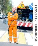 smiling road construction...   Shutterstock . vector #453473365