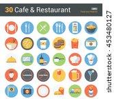 30 cafe   restaurant  food icon ...   Shutterstock .eps vector #453480127
