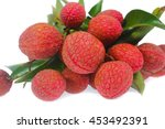 lychees isolated on white... | Shutterstock . vector #453492391