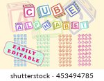 cube alphabet. toy blocks font... | Shutterstock .eps vector #453494785