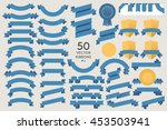 set of 50 vector ribbons. flat... | Shutterstock .eps vector #453503941