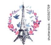 Eiffel Tower In Wreath Of...