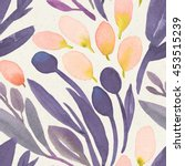 seamless watercolor floral... | Shutterstock . vector #453515239