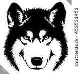 black and white paint draw wolf ... | Shutterstock .eps vector #453531451