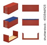 isometric cargo containers... | Shutterstock . vector #453546925