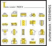 travel element line icon set 9...