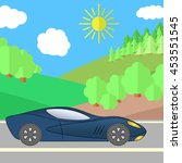 dark blue sport car on a road... | Shutterstock .eps vector #453551545
