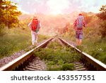 two jolly hikers man and girl... | Shutterstock . vector #453557551