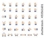 set of hand emoticon vector... | Shutterstock .eps vector #453561601