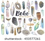 boho crystals  stones  and... | Shutterstock .eps vector #453577261