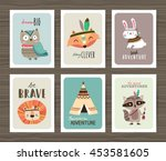 Stock vector set of creative cards templates with tribal cartoon animals and quotes 453581605