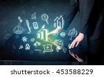 man touching technology smart... | Shutterstock . vector #453588229