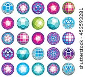 set of abstract 3d faceted... | Shutterstock .eps vector #453593281
