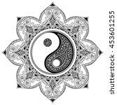 vector henna tatoo mandala. yin ... | Shutterstock .eps vector #453601255