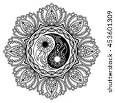 vector henna tatoo mandala. yin ... | Shutterstock .eps vector #453601309