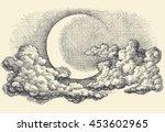 night sky vector  moon in the... | Shutterstock .eps vector #453602965