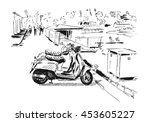 sketch of vintage scooters on a ... | Shutterstock .eps vector #453605227
