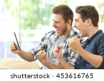 two excited friends or... | Shutterstock . vector #453616765