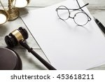 justice concept with blank paper | Shutterstock . vector #453618211